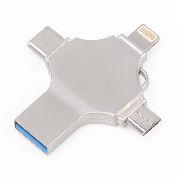 Custom 8gb 16gb 32gb 64gb USB3.0 Flash Drive 4 in 1 OTG universal U disk for Apple/Type-C/Android/PC фото