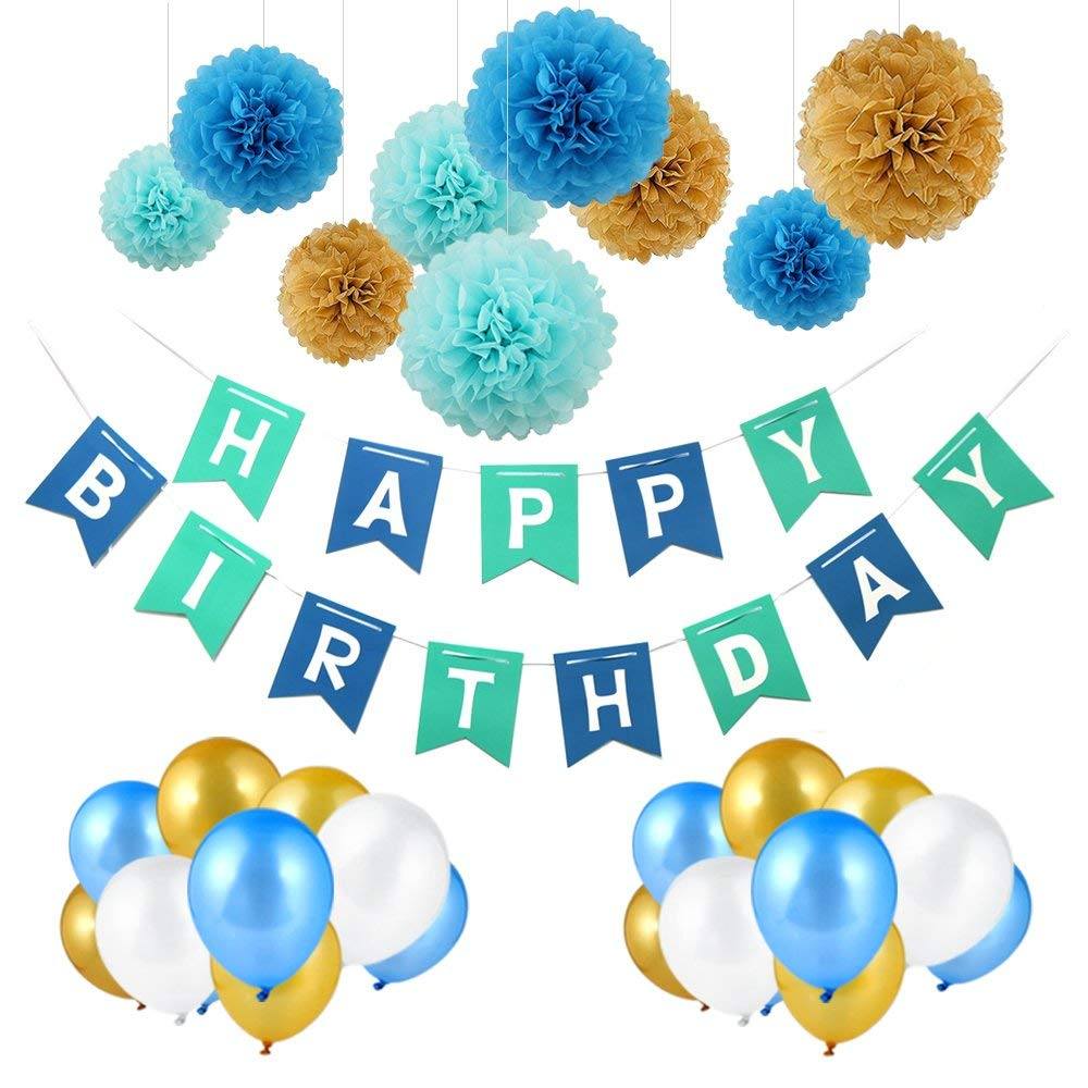Vegkey Birthday Decorations,Happy Birthday Decorations Party Supplies- 40 Packs with 1 Happy Birthday Banner,30 Pack Balloons and 9 Pack Paper Garland