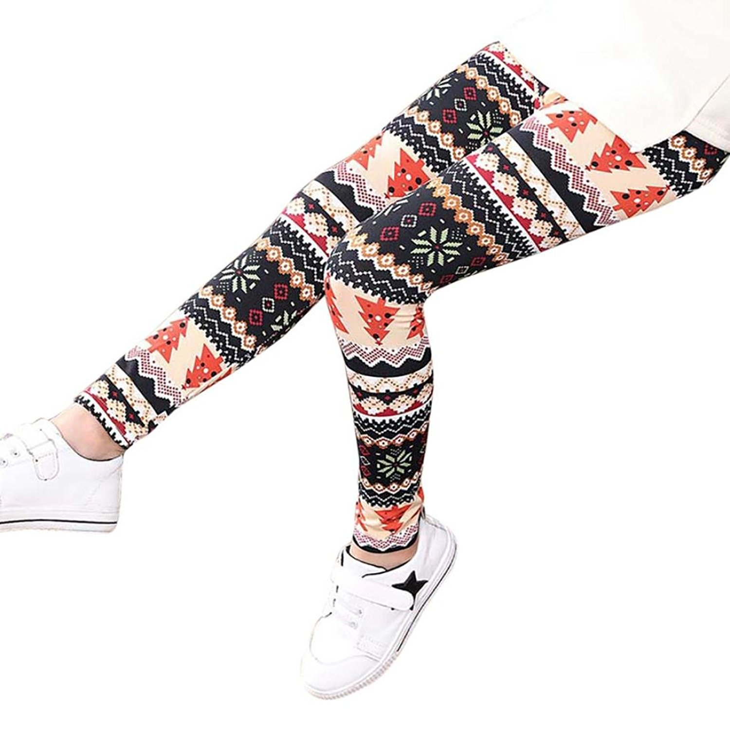 f8a95dc848aa8 Get Quotations · Girls Leggings, Tloowy Girls Christmas Flower Print Leggings  Pants Comfy Children Toddler Kid Tights Trousers