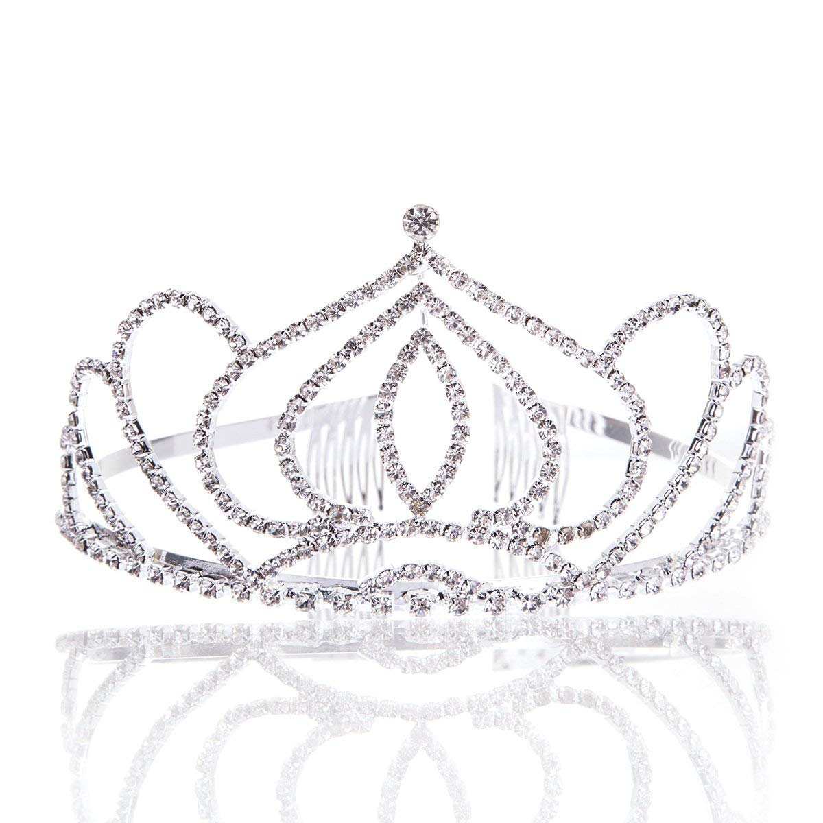 Get quotations · crown tiara prom queen crown quinceanera pageant crowns princess crown rhinestone crystal bridal crowns tiaras for