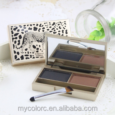 Cosmetic Makeup waterproof eyebrow powder with mirror double color eyebrow palette with brush