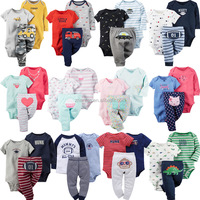 new design 3pcs/lot spring & summer cartoon animal cotton baby clothing