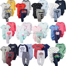 new design 3pcs/lot spring & summer cartoon animal cotton baby clothing