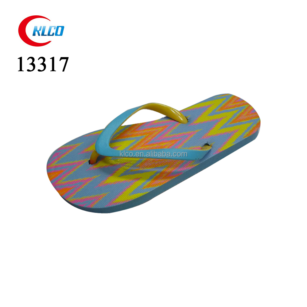 New design flat ladies EVA blue fin flip flops