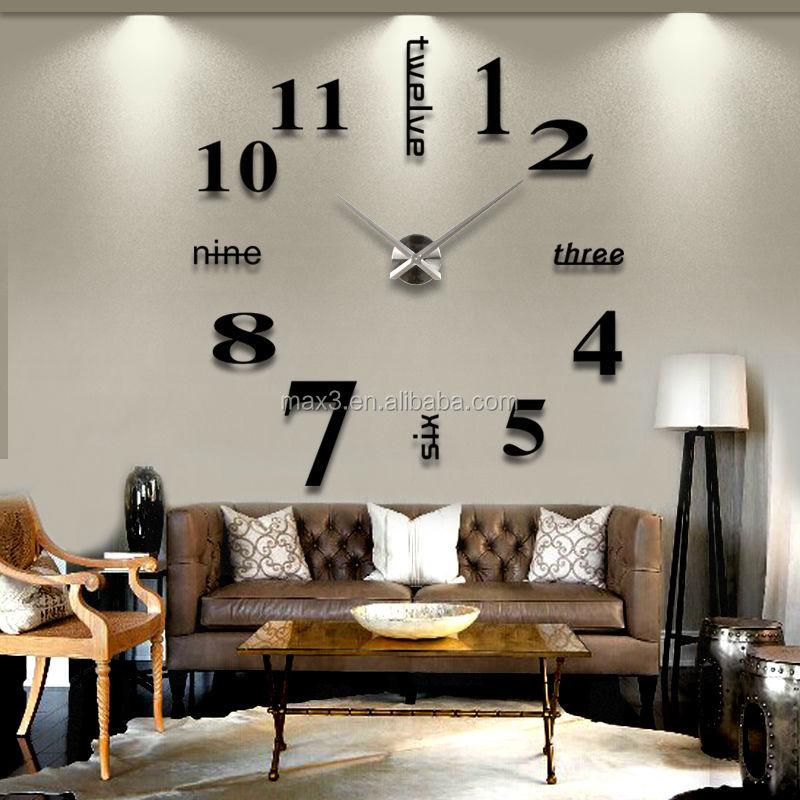 Contemporary Diy Metal Modern 3d Frameless Wall Large Clock ...
