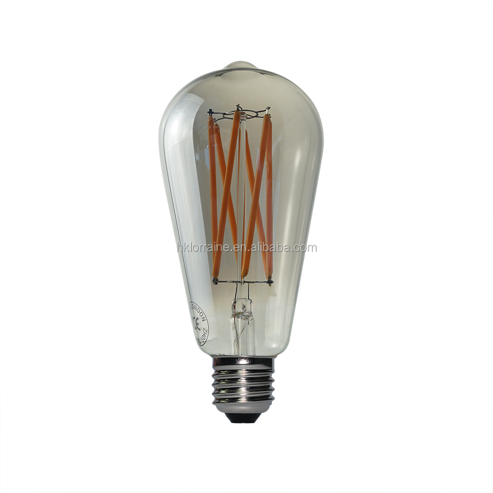 Vintage E27 E14 Dimmable Edison Filament Bulb COB LED Cool//Warm White Light Lamp