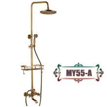 Античная латунная настенная Ванна набор для душа кран двойная ручка с товарной полкой Длинный Носик Ванная комната смеситель для душа дожд...(Китай)