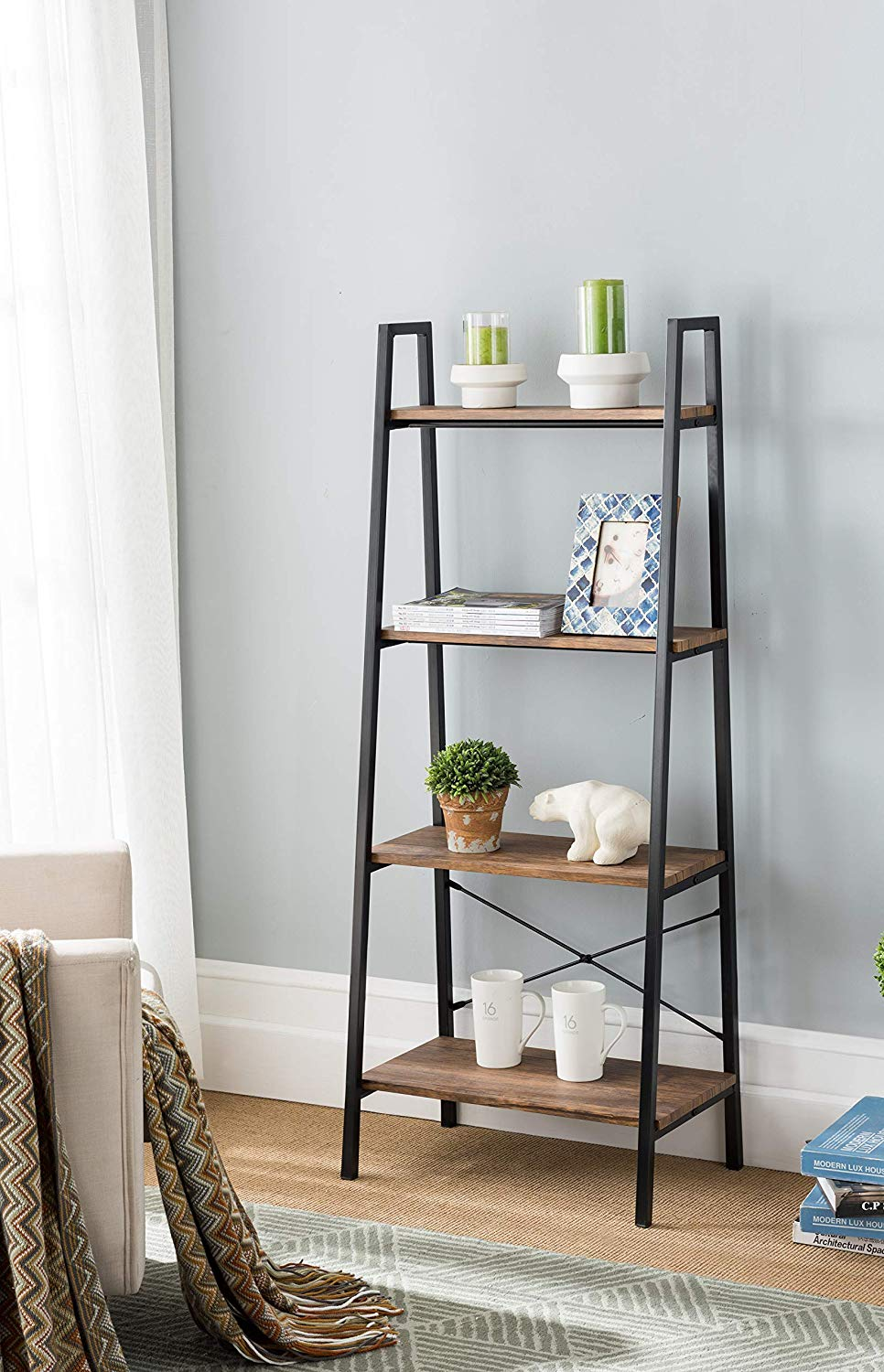 Get Quotations None Vintage Finish Metal Frame 4 Tier Ladder Shelf Bookcase Bookshelf Accent Plant Stand