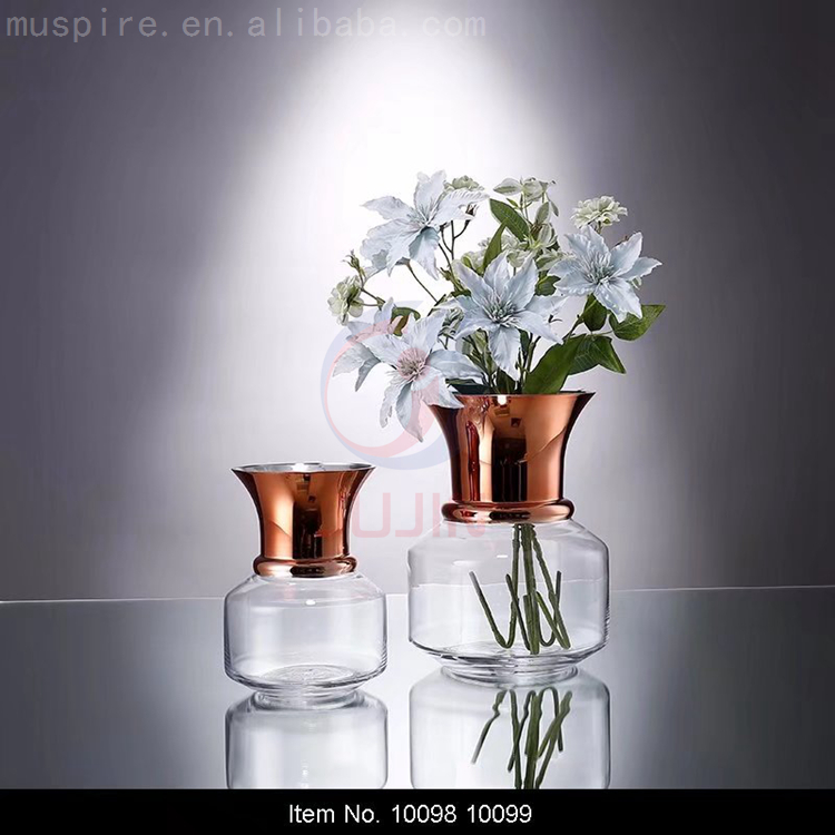 Factory direct sale Wedding Gift Glass flower vase Jar with gold copper rim