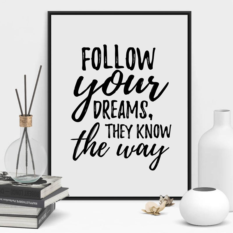 Follow Your Dreams Art Print Poster Wall Pictures , Hand Drawn Inspiration Quote Canvas Painting Modern Home Decor