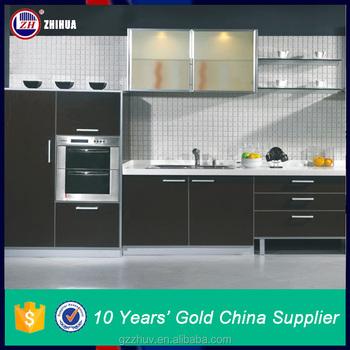 Kabinet Dapur Modern Dengan Rangka Alumunium Desain Pintu Kaca