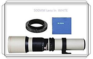 Vivitar 500mm f/8.0 Manuel Focus Telephoto Lens (White) For Olympus PEN E-P1, E-P2, E-P3, E-P5, E-PL1, E-PL2, E-PL3, E-PL5, E-PL6, E-PL7, E-PM1, E-PM2, OM-D E-M1, E-M5, Mark II, E-M10 (MFT) Panasonic Lumix DMC, G1, G2, G3, G5, G6, G10, G6KK, GF1, GF2, GF3, GF3KK, GF3CK, GF5, GF5KK, GF5KR, GF5XR,