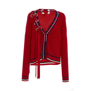 2018 Trending new design girl red sweater lace up sweater with ring metal women cardigan