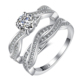 2018 latest sample designs 925 modern simple women silver engagement wedding ring set