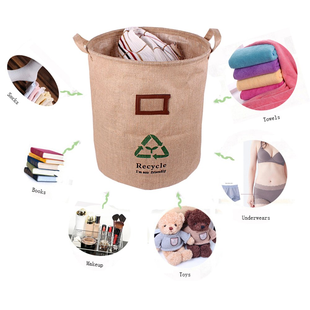 GreenForest Fabric Linen Eco-friendly Convenient Storage Bucket Bin With Totes