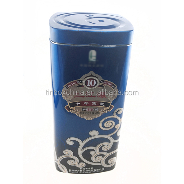 Famous metal wine tin box container bottole empty no alcohol