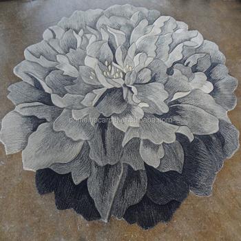Sculptured Flower Shaped Carpet Hand Carved Rose Lotus Rug