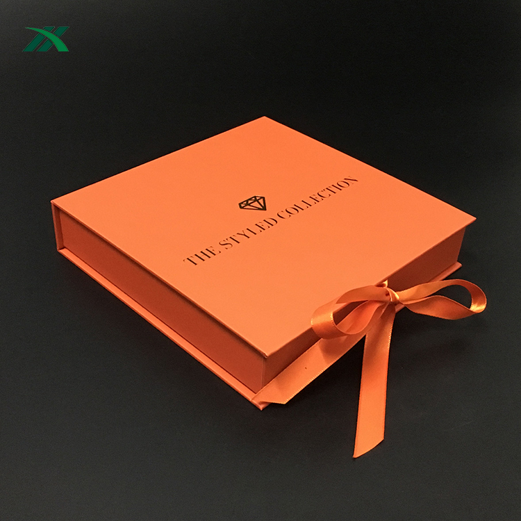 elegant orange jewelry packaging gift paper box with logo