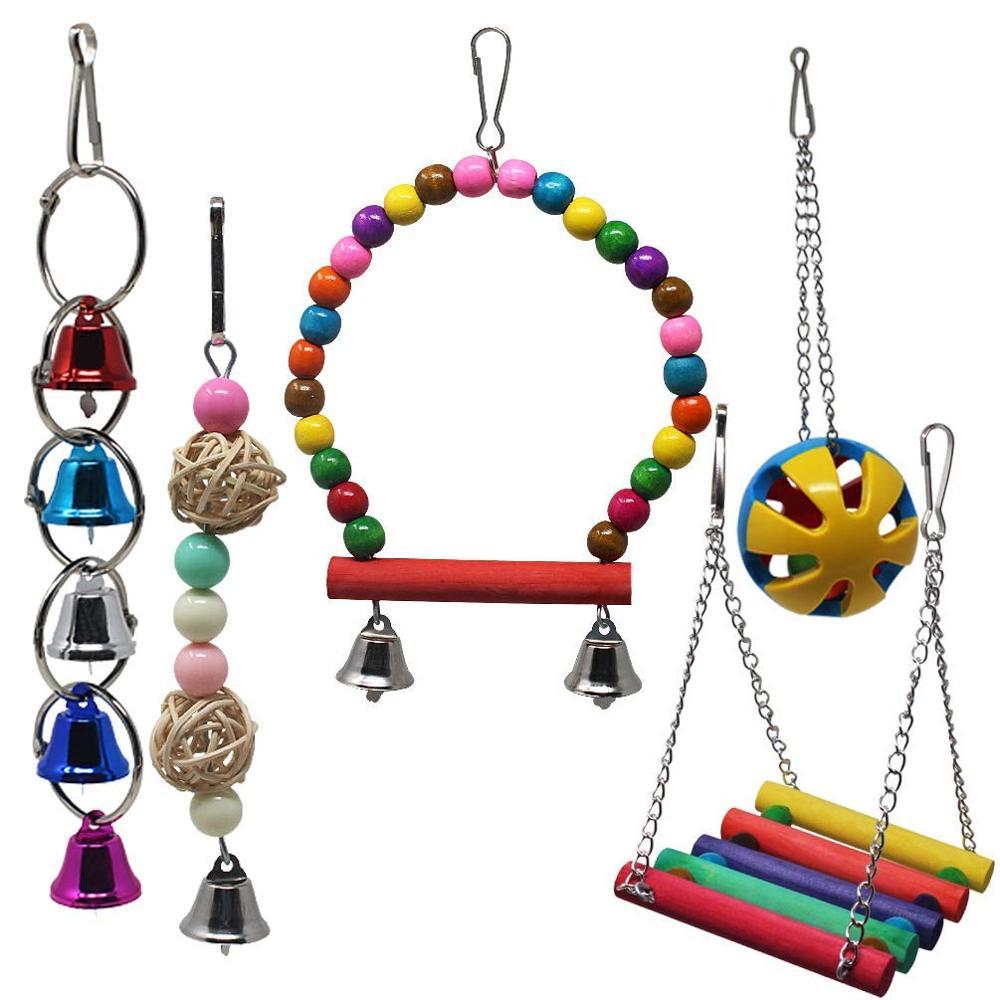 Holz Spielzeug Vogelschaukel mit Glocken für Eichhörnchen Papageien Vögel Spielzeug