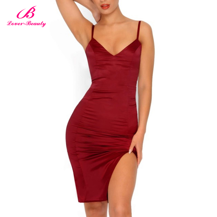 Oem Red Deep V Neck Satin Mini Sleeveless Silk Bandage 2017 Dress Design