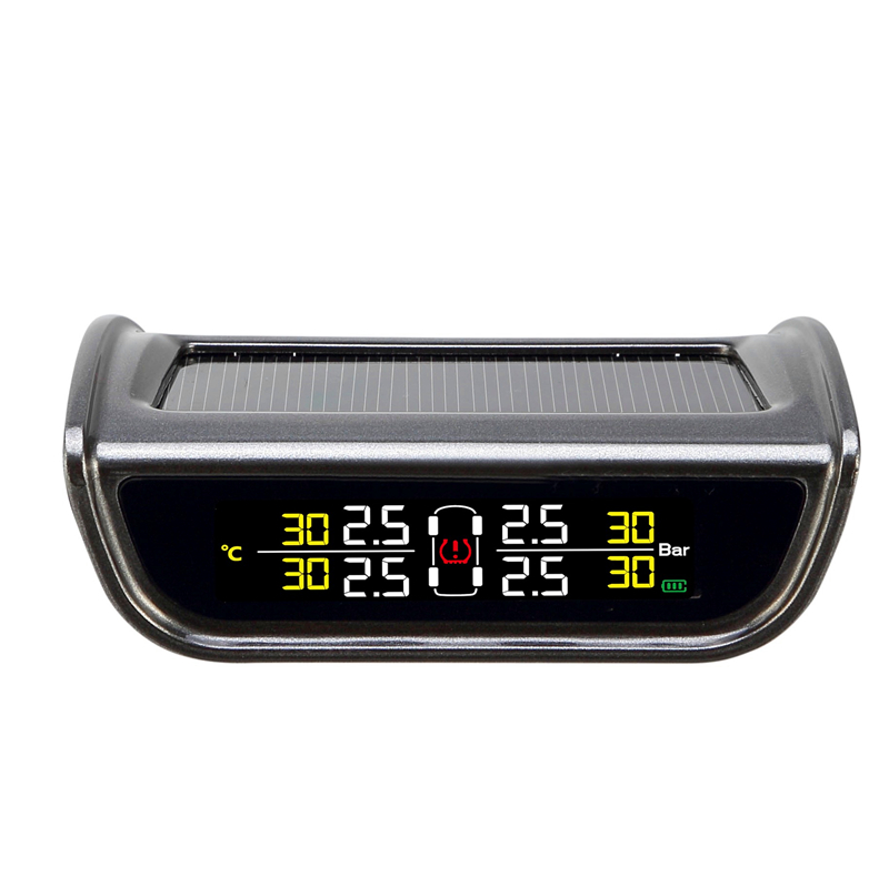 Car tire pressure gauge monitoring system solar powered with lcd display build in g-sensor