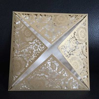 Gold Laser Cut Lace Vintage Flower E15 Wedding Invitation Cards with Envelope,Seal,blank inside card