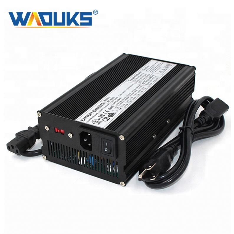 WAOUKS 29.4V 15A Charger 7S 24V Lithium Battery Pack Charger With Cooling fan Smart Charge Auto-Stop Aluminum Case
