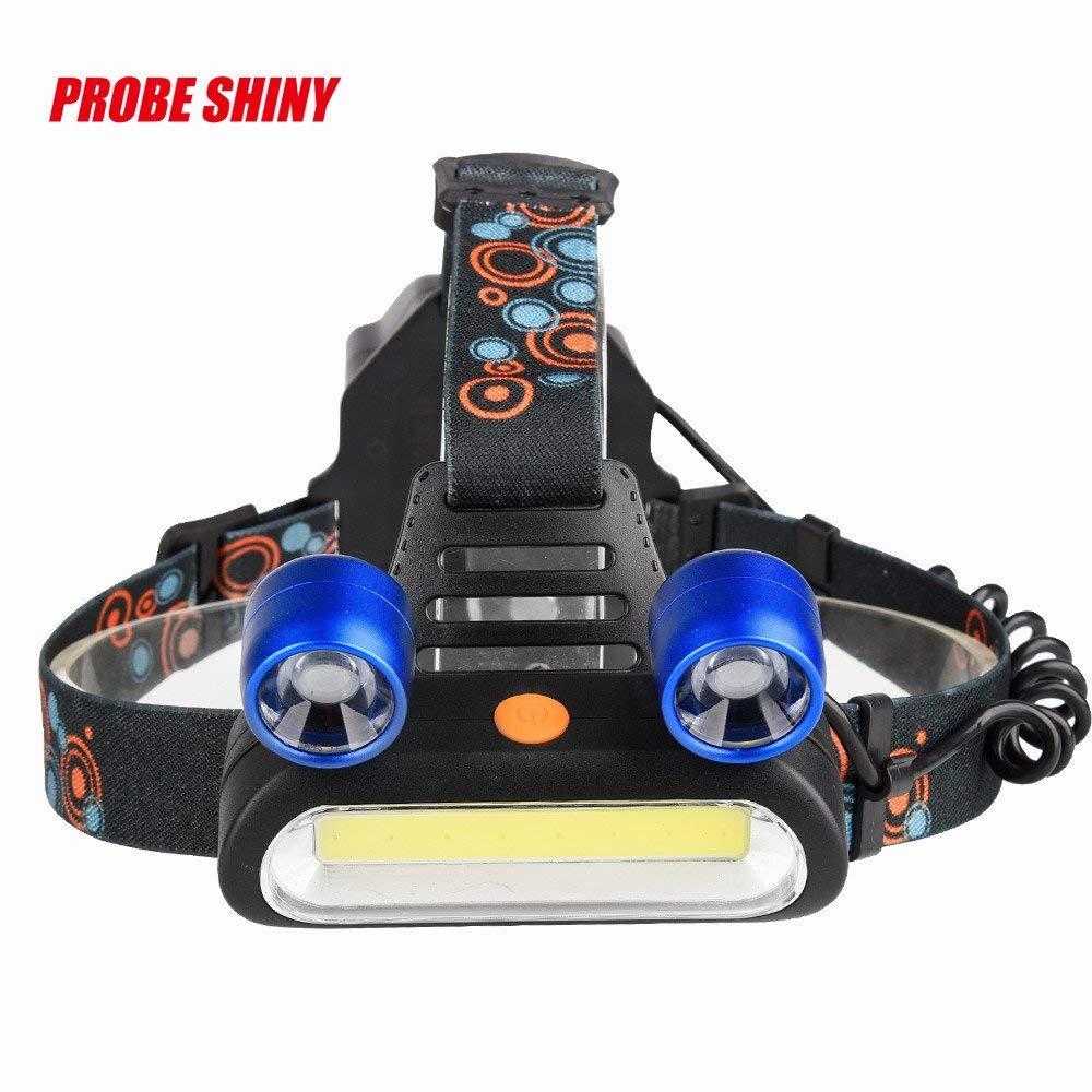 LED Headlight Torch Flashlight, 15000LM 2x XM-L T6 LED +COB Rechargeable 18650 Headlamp Head Light Torch Lamp Tactical Flashlights for Sporting Outdoor Camping Hiking