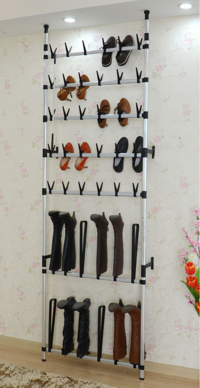Wall Mounted Wire Shoe Rack For 30 Pair Rolling Shoes Racking Metal Iron Racks