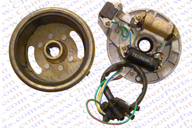 Magneto Stator Plate 2 Pole 6 Wire Rotor Flywheel Kick Start 50cc 70cc on how does a magneto work diagram, magneto parts diagram, small engine magneto diagram, ignition diagram, craftsman riding mower electrical diagram, magneto distributor, magneto installation diagram, magneto ignition schematic,