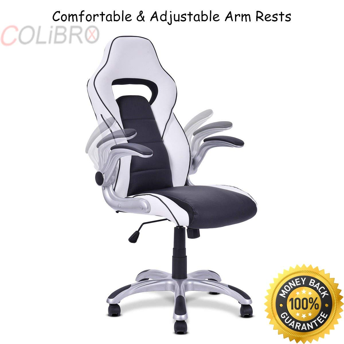 COLIBROX--High Back Executive Racing Style Office Chair Gaming Chair Adjustable Armrest. executive racing office chair pu leather swivel computer desk seat high-back. amazon racing seat office chair.