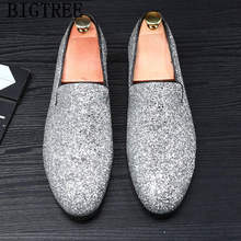 Обувь для вечеринок; Мужские классические блестящие лоферы; Мужская обувь золотого цвета; Свадебная обувь; Элегантная обувь для мужчин; 2020; ...(Китай)