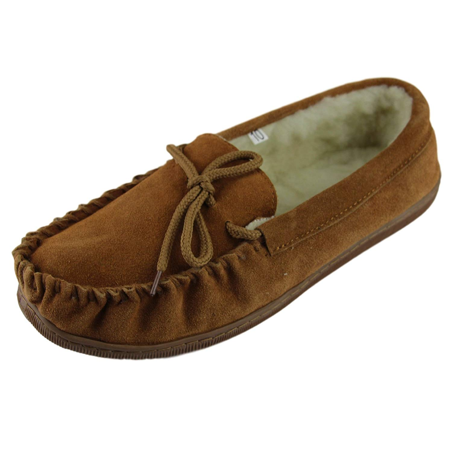 78233805aa9 Sheepskin World Deluxe Mens Lambswool Moccasin Slippers with Extra Thick Hard  Sole - Suede Upper
