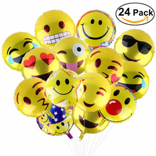18 inch Emoji smile/weep/happy/kiss/cool cartoon character balloon , aluminum/foil emoji helium balloon for party