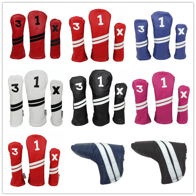 Discount PU leather  golf club headcovers Custom Made golf Headcover Golf Putter Head Covers