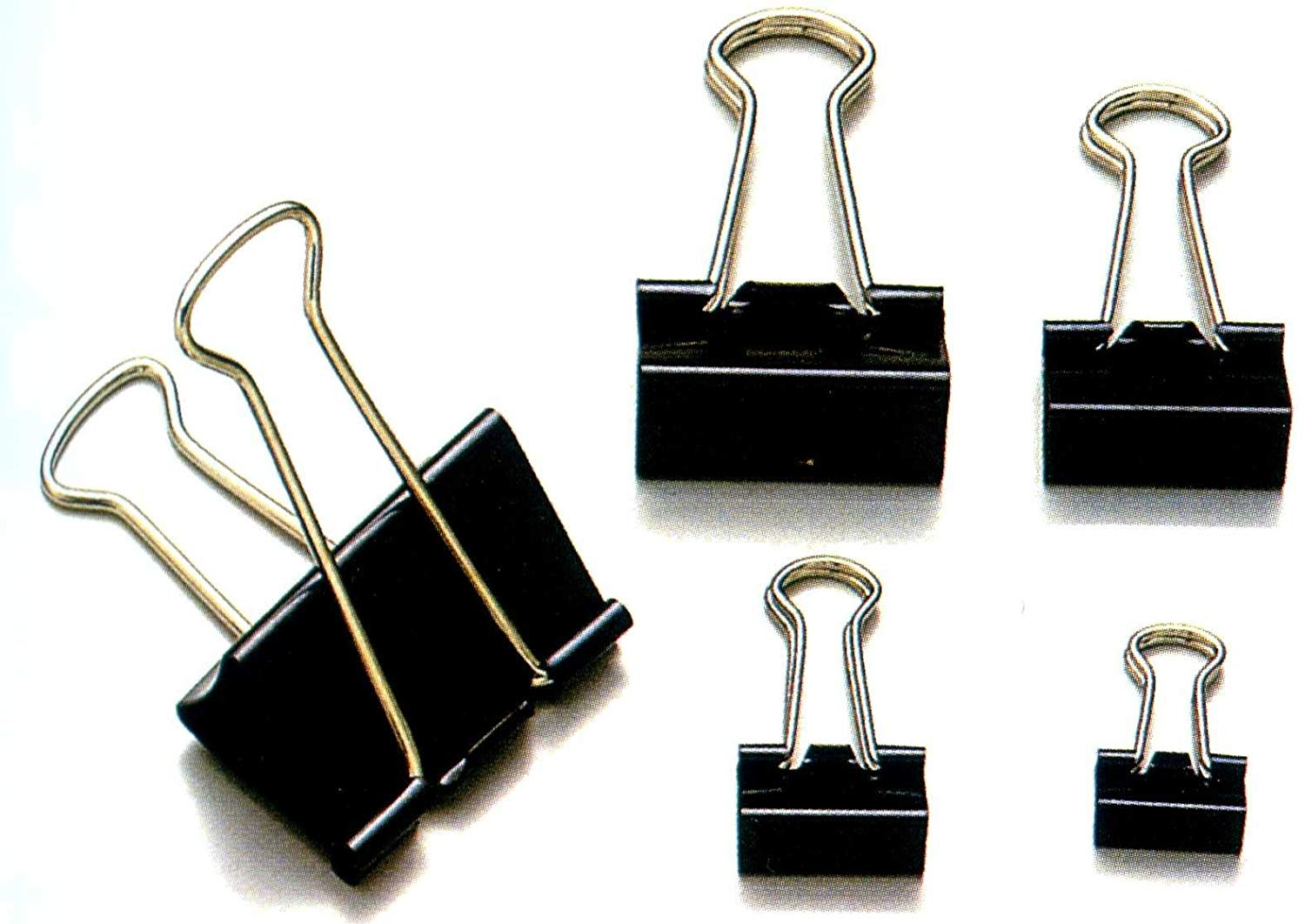 Penrote Assorted 6 Sizes Per Pack Black Binder Clips Holding Capacity,Paper Clamp, Metal Paper Clips