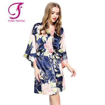 d3b124ba81 Fung 3016 Short Design Women Floral Ladies Dressing Gowns - Buy ...