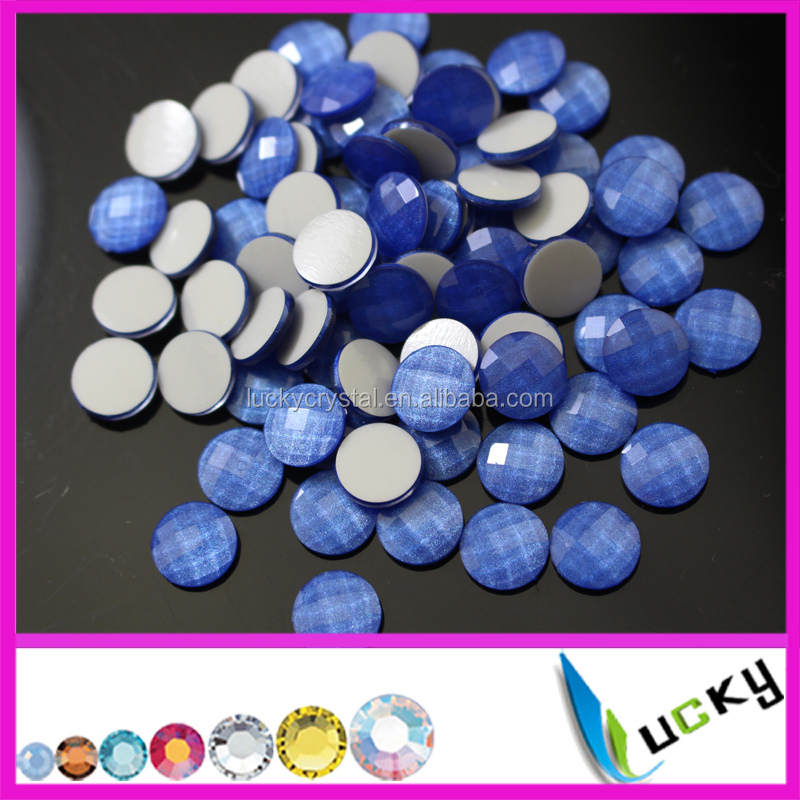 Korean quality Neon blue half Round facted hotfix epoxy resin pearl