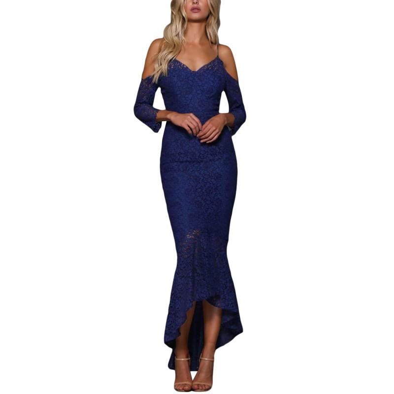 c0f475095 Azul Marino Maxi de encaje negro Sexy vestido de Club frío hombro Vestidos  para mujer elegante