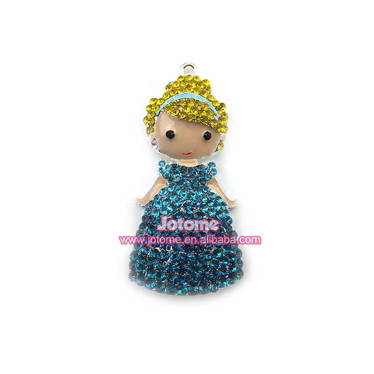 Commercio all'ingrosso Lemon Yellow & Blue Rhinestone Di Cristallo Della Principessa Del Pendente