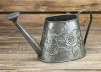 home indoor decorative vintage bronze color metal watering can with rose emboss for sale