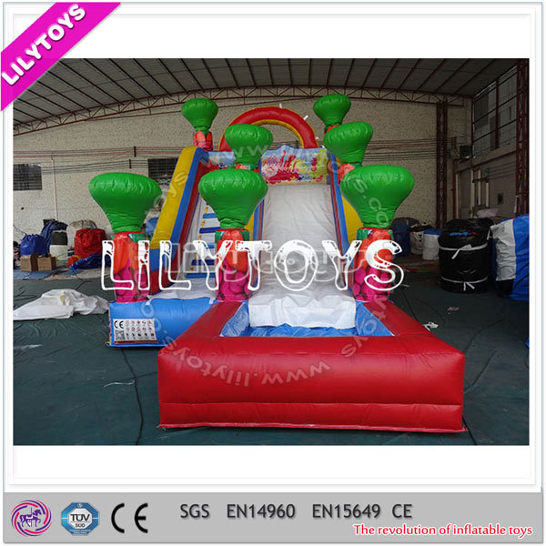 Beautiful cute slip slide inflatable water/profession inflatable manufacturer/slide with pool