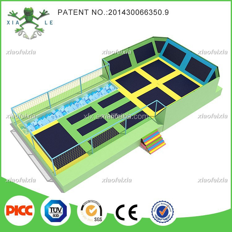 Professional manufacturer according to your room size indoor trampoline park with foam pit,dodge ball,basketball hoop