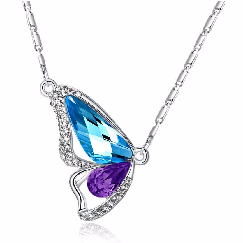 Colorful Crystal Butterfly Necklace High quality free shipping