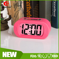Travel Alarm Clock with Silicone Cover,Digital Alarm Clock Radio Large Display,Electric Alarm Clock with Snooze Light Function