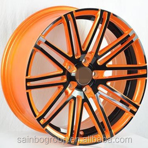 car alloy rims black/gold and machine lip