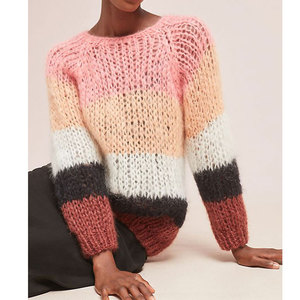 Fashion Top 10 Mohair Blend Stripe Knitwear Sweater For Women