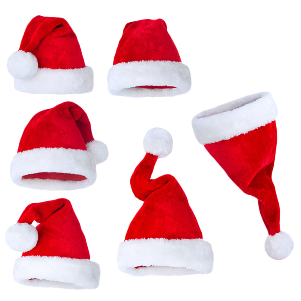 Popular Hot- sale Happy Christmas Plush Red Custom Santa Hats Wholesale