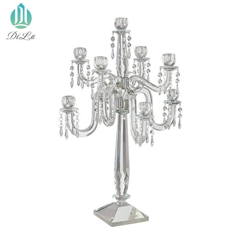 European 120cm tall crystal Glass candelabra candle holder Glass Hurricane 9 arms crystal wedding table centrepiece candelabra