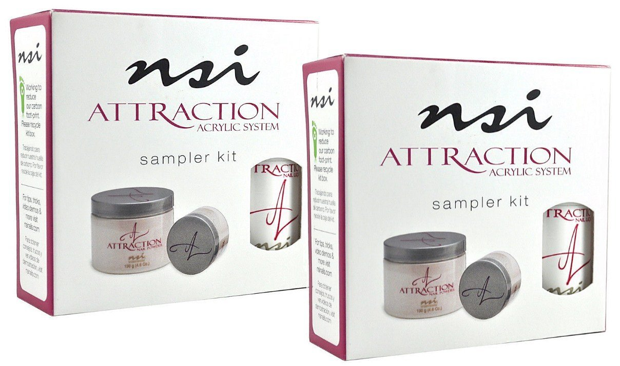 nsi Attraction Nail Acrylic System Sampler Kit (Attraction Nail Liquid,Radiant Pink+White+Totally Clear Nail Powder,Attract (Acid-Free) Primer) - (Pack of 2)